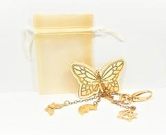 Miniatures De Parfum PORTE CLÉ  ANNICK GOUTAL Métal Doré Avec BRELOQUES  Papillon  Lune  AG   + Pochette - Materiale Di Profumeria