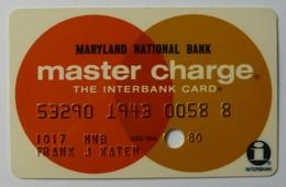 USA - Credit Card - Master Charge - Maryland National Bank - Exp 1980 - Used - Krediet Kaarten (vervaldatum Min. 10 Jaar)