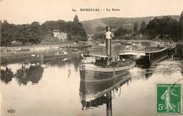 78. CPA. BOUGIVAL. La Seine, Le Remorqueur Resistance Tire Des Péniches. - Embarcaciones