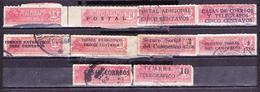 ECUADOR 1920'S-1930'S TOBACCO TAX PRO TRAIN RAILWAY PUERTO BOLIVAR 1 C. RED + 9 DIFFERENT SURCHARGES SC# 346 RA18 RA32 R - Trains