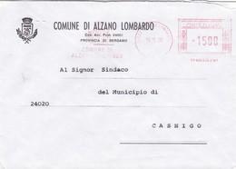 BUSTA VIAGGIATA - ALZANO LOMBARDO (BG) - COMUNE DI ALZANO LOMBARDO ( PROVINCIA DI BERGAMO) VIAGGIATA  PER CASNIGO - Affrancature Meccaniche Rosse (EMA)