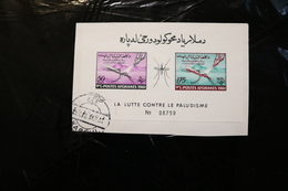 Afghanistan 518-519 Anti Malaria Imperforate Souvenir Sheet Block Mosquitoes Cancelled On Piece 1961 A04s - Afghanistan