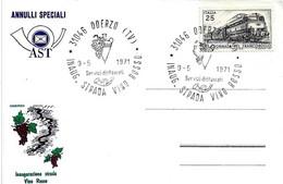 ITALIA - 1971 ODERZO (TV) Inaugurazione Strada Vino Rosso (anfora, Grappolo Uva) - Settore Alberghiero & Ristorazione