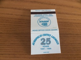 Pochette D'allumettes ANGLETERRE «ACROPOLIS COFFEE LOUNGES 25 YEARS 1986» - Matchboxes