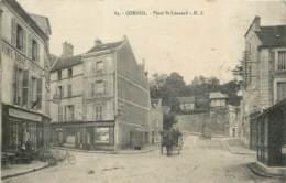 91 - CORBEIL - Place St Leonard - Cachet Du Commissaire Militaire De La Gare P.L.M. 1916 Franchise - Corbeil Essonnes
