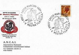 ITALIA - 1975 SASSO MARCONI (BO) V Mostra Filatelica Uva E Vino (bottiglia, Bicchiere, Grappolo D'uva) - Vini E Alcolici