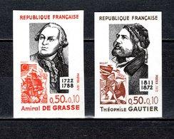 FRANCE  N° 1727 + 1728   NON DENTELES  NEUFS SANS CHARNIERE  COTE 30.00€   PERSONNAGES CELEBRES - No Dentado