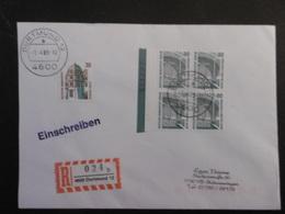 Bund Mi. 1342 Viererblock+1379 R Brief 1.4.1989 Dortmund-Schwenningen - BRD