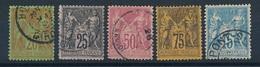 """CV-199: FRANCE: Lot """"SAGE""""  N° 96 à 101 - 1876-1898 Sage (Type II)"""