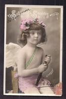 CPA Enfant Fillette Déguisée En Angecoiffée D'une Couronne De Fleurs - Pretty Girl - Photographie - Portraits
