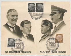 DEUTSCHES REICH PROPAGANDA DOPPEL KARTE MÜNCHEN 1938 HITLER MUSSOLINI.... - Covers & Documents