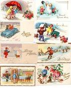 LOT 26 Mignonnettes - Bonne Année - Enfant - Enfants - Illustrateur - Cartes Postales