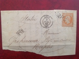 Cristallerie De Lyon Pour Naples Napoli - Marcophilie (Lettres)