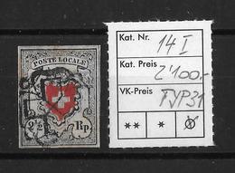 1850 POSTE LOCALE → Mit Kreuzeinfassung, SBK-14I, Type 31 Mit Schw. Zürcher Rosette, Versch. Rotdruck ►RAR◄ - 1843-1852 Federal & Cantonal Stamps