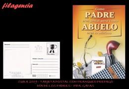 CUBA. ENTEROS POSTALES. TARJETA POSTAL FRANQUEO PREPAGO. 2019 DÍA DE LOS PADRES. PIPA. GAFAS. TAZA DE CAFÉ - Cuba