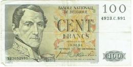 Billet. Belgique. 100 (cents) Francs. 1954. - [ 2] 1831-... : Royaume De Belgique