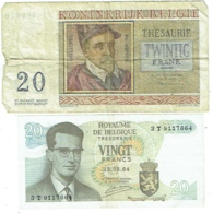 Billet. Belgique. 20 Francs. Lot De 2 Billets De 1956 Et 1964. - [ 6] Treasury