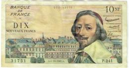 Billet. France. 10 Nouveaux Francs. 10 NF. Richelieu. 4-10-1962. - 10 NF 1959-1963 ''Richelieu''