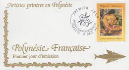 Enveloppe  FDC  1er Jour  POLYNESIE      Peintres  En   Polynésie    1992 - FDC