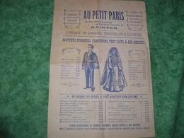 TRES RARE DOCUMENT PUBLICITAIRE - AU PETIT PARIS - SAINTES - - Publicités