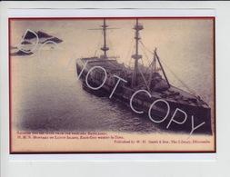 SM09. Lundy Island HMS Montague Originally Produced W.H.Smith. Ilfracombe  X 4 FREE UK P+P !SALE HALF PRICE! - Boats