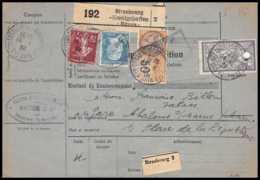 25002 Bulletin D'expédition France Colis Postaux Fiscal Haut Rhin 1927 Strasbourg Semeuse Merson 206 Alsace-Lorraine - Colis Postaux