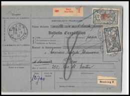 25012 Bulletin D'expédition France Colis Postaux Fiscal Haut Rhin Barr 1927 Semeuse Merson 123+206 Alsace-Lorraine - Lettres & Documents