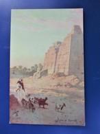 """Picturesque Egypt. PYTON At KARNAK ."""" Raphael Tuck Oilette - - Tuck, Raphael"""