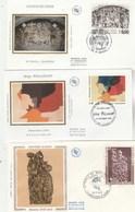 France  Lot 5 Enveloppes Sur Soie FDC Thématique Art Peinture Tableaux  Dont 2 Enguerrand De Quarton - 2 Scan - FDC