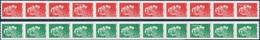 Autoadhésif(s) De France N° 1601.et 1602 ** Marianne L'Engagée. Par 11 Timbres, Roulettes Verte Et Rouge, Verso à Droite - Ongebruikt