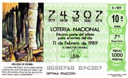 ESPAGNE / BILLETE DE LOTERIE NACIONAL / 11 DE FEBRERO DE 1989 / 1.000 PESETAS - [6/89] - Billets De Loterie