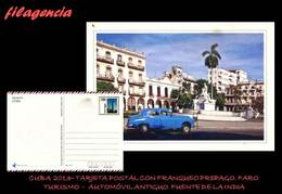 CUBA. ENTEROS POSTALES. TARJETA POSTAL FRANQUEO PREPAGO. 2013 TURISMO. AUTOMÓVIL ANTIGUO. FUENTE DE LA NOBLE HABANA - Cuba
