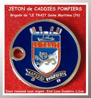 """SUPERBE JETON De CADDIES :SAPEURS POMPIERS, Brigade De """"LE TRAIT """"en SEINE MARITIME (76) ARGENT Verso Neutre - Jetons De Caddies"""