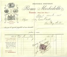 """4783 """" PRIMARIA SARTORIA REMO MORBIDELLI-TORINO PIAZZA CARLO FELICE 5-DICEMBRE 1914-MARCA DA BOLLO 5 CENT.""""-ORIGINALE - Italy"""
