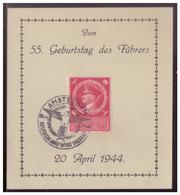 Dt- Reich (008450) Gedenkblatt, Zum 55. Geburtstag Des Führers, Mit MNR 887 Und SST Amsterdam Vom 20.4.1944 - Deutschland