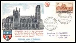 16630 - France Lettre Premier Jour (fdc Cover) N° 1019 Limoges Le Pont (bridge) Saint-Etienne Et La Cathédrale - FDC