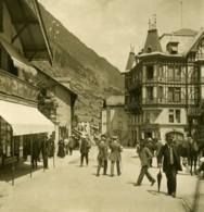 Suisse Alpes Zermatt Hauptstrasse Hotel Du Mont Cervin Ancienne Photo Stereo NPG 1900 - Stereoscopio