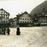 Suisse Stans Place Du Marche Dorfplatz Ancienne Photo Stereo Possemiers 1900 - Stereoscopic