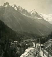 France Alpes Chemin De Fer Martigny Chamonix Ancienne Photo Stereo Wehrli 1900 - Stereoscopic