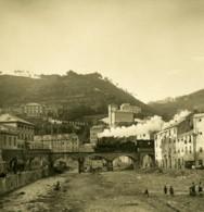 Italie Voltri Pont De Chemin De Fer Train A Vapeur Ancienne Photo Stereo NPG 1900 - Stereoscopic