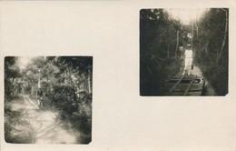 Photo-carte Deux Photos Couple Homme Femme Vélo Bois Chemin De Fer Rail Bicycle - Persone Anonimi