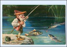 U7642/ Zwerg Angelt Fische  1906  Verlag: T.S.N.   - Ansichtskarten