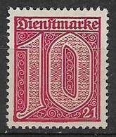 GERMANIA REICH IMPERO 1920  FRANCOBOLLI DI SERVIZIO TIPI CON GRANDE CIFRA NUMERO 21 ANGOLO UNIF.10 MNH VF SENZA GOMMA - Officials