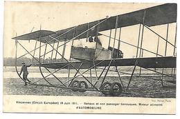 AVION - VINCENNES - Circuit Européen 18 Juin 1911 - Renaux Et Son Passager Senouques - ....-1914: Précurseurs
