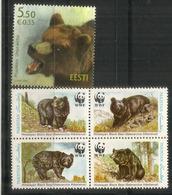 WWF. OURS. D'Estonie Et D'Asie.  5 Timbres Neufs ** - Bears