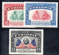 ETP222 - ETIOPIA 1947 , Serie  Yvert N. 250/252 ***  MNH (2380A).  Roosevelt - Ethiopia
