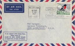 1967 , AUSTRALIA , CORREO AÉREO , MELBOURNE - AALEN , SERIE BÁSICA - AVES - 1966-79 Elizabeth II