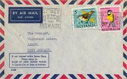 1967 , AUSTRALIA , CORREO AÉREO , SYDNEY - AALEN , SERIE BÁSICA - AVES - 1966-79 Elizabeth II