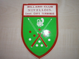 Autocollant Ancien BILLARD CLUB NIVELLOIS - Vignettes Autocollantes