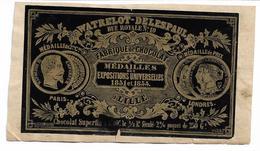 LILLE NORD Etiquette De  Chocolat WATRELOT -DELESPAUL Rue Royale N°10  Médaille Expos 1851 &1855 - Côte D'Or